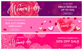 Women Day sale gold glitter heart web banner 8 March. Women Day sale shopping web banner vector gold glitter templates. Golden hearts and flowers discount Royalty Free Stock Photos