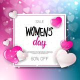 Women Day Sale 8 March Holiday Shopping Special Offer Flyer Banner Discount Poster Background. Vector Illustration Stock Image