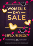 Women Day sale poster on gold glitter heart pattern background. Women Day sale poster of gold glitter heart pattern on luxury flower background for 8 March Woman Royalty Free Stock Images