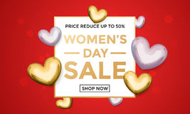 Women Day sale poster on gold glitter heart pattern background. Women Day sale poster of gold glitter heart pattern on luxury red background for 8 March Woman Stock Photography
