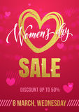 Women Day sale poster on gold glitter heart pattern background. Women Day sale poster of gold glitter heart pattern on luxury red background for 8 March Woman Royalty Free Stock Photography