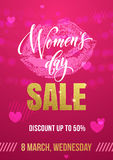 Women Day sale poster on gold glitter lips pattern background Stock Photos