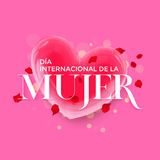 Women Day Spanish Dia de la Mujer heart greeting card background Stock Photography