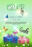Women Day Special Offer Flyer Beutiful Discount Greeting Card Sale Promotion Template Poster Design. Vector Illustration Stock Photo