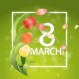Women day Typographical Background With Spring Tulips Flowers Stock Photo