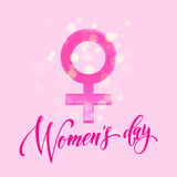 Women Day Venus sign greeting card flower background. Women Day greeting card of Venus sign and light glitter on luxury pink background. Text lettering for 8 Stock Images