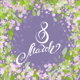Women day vintage background. 8 march women day vintage background with pink flowers anf green leaves. Hand drawn lettering stock illustration