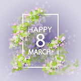 Women day vintage background. 8 march women day vintage background with pink flowers anf green leaves. Hand drawn lettering royalty free illustration