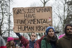 Women demonstrating for equality in Zurich stock images
