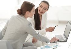 Women designer and the client. Women designer with a client working in the office. photo with copy space stock photos