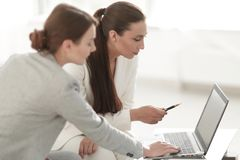 Women designer and the client. Women designer with a client working in the office. photo with copy space royalty free stock photos