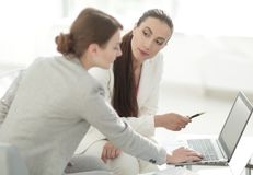 Women designer and the client. Women designer with a client working in the office. photo with copy space stock photography