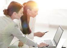 Women designer and the client. Women designer with a client working in the office. photo with copy space stock image