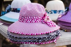 Women designer hats in Dwarka, India Royalty Free Stock Photo