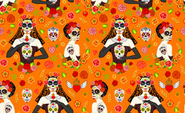 Women Dia Los Muertos. Seamless pattern with mexican beautiful women with Dia Los Muertos make-up and sugar skull Stock Images