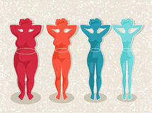 Women with different body mass index. Ladies silhouettes with different body mass vector illustration