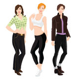 Women in different clothes ans pose. Vector illustration of young women in different clothes ans pose on white backgroun Royalty Free Stock Image