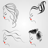Women with different hairstyles Royalty Free Stock Image