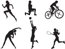 Women in different kinds of sport. Silhouettes of women in different kinds of sport Stock Photos