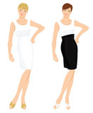 women in different white cocktail dress Royalty Free Stock Images
