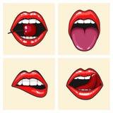 Women& differente x27; insieme dell'icona di vettore delle labbra di s isolato da fondo Le labbra rosse si chiudono sulle ragazze illustrazione di stock