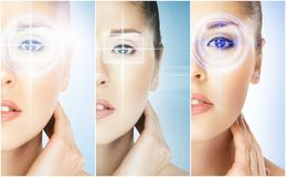 Women with a digital laser hologram on eyes collage. Ophthalmology, eye surgery and identity scanning technology concept collection royalty free stock photography