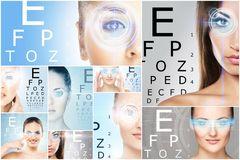 Collage of portraits of young women with laser holograms. Women with a digital laser hologram on eyes collage. Ophthalmology, eye surgery and identity scanning Royalty Free Stock Images