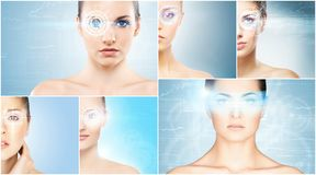 Women with a digital laser hologram on eyes collage. Ophthalmology, eye surgery and identity scanning technology concept collection royalty free stock images