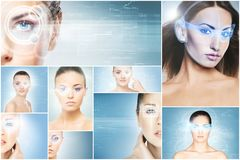 Portraits of young woman with a laser hologram stock photo