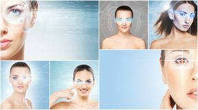 Collage of portraits of young women with laser holograms. Women with a digital laser hologram on their eyes collection. Ophthalmology, eye surgery and biometric royalty free stock photography