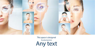 Women with a digital laser hologram on their eyes collection. Stock Photos