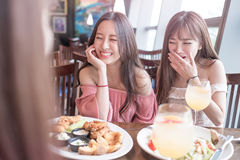 Women dine in restaurant. Beauty women smile and dine in restaurant Royalty Free Stock Image