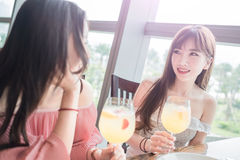 Women dine in restaurant. Beauty women smile and dine in restaurant Royalty Free Stock Images