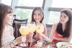 Women dine in restaurant. Beauty women smile and dine in restaurant Stock Images