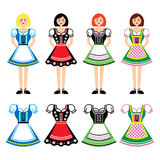 Women in Dirndl - traditional dress worn in Germany and Austria icons set Stock Photo