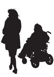 Women disabled. Graphic disabled and women on a walk. Silhouettes of people Royalty Free Stock Image