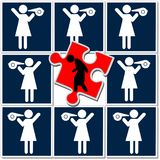 Queen bee syndrome. Women discriminate against other women at work stock illustration