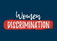 Women Discrimination label. Font with Brush. Equal Rights Badges Royalty Free Stock Images