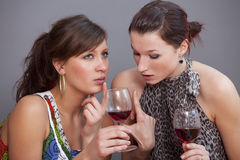 Women discussing with glasses sparkling wine Royalty Free Stock Images