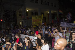 Women do act against gang in Rio. Rio de Janeiro, Brazil, 01 June 2016: Hundreds of women held a demonstration in Rio's downtown streets to protest against stock photos