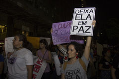 Women do act against gang rape in Rio. Rio de Janeiro, Brazil, 01 June 2016: Hundreds of women held a demonstration in Rio's downtown streets to protest against Royalty Free Stock Images