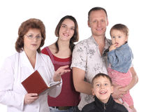 Women doctor and happy family Royalty Free Stock Photography