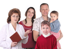 Women doctor and happy family stock photos