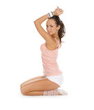 Women does sport exercises and poses Royalty Free Stock Photography