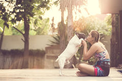 Women dog stock images