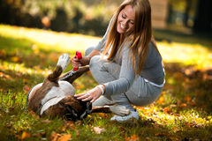 Women And Dog Outdoor Stock Images