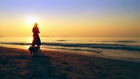Women and dog running happy at beach when travel stock footage