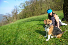 Women with dog Stock Photography