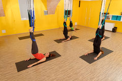 Women doing anti gravity Aerial yoga Stock Image