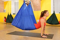 Women doing anti gravity Aerial yoga Royalty Free Stock Images